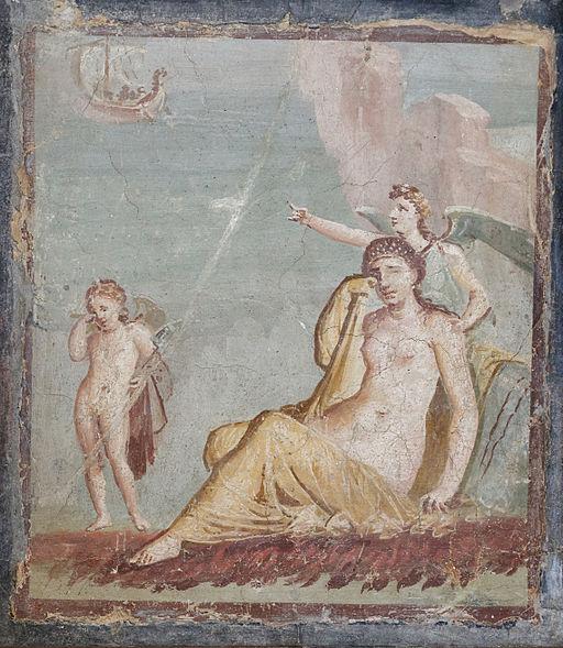 Ariadna plorant mentre la Venjança li assenyala la nau de Teseu - Casa di Meleagro, Pompeia (s. I)